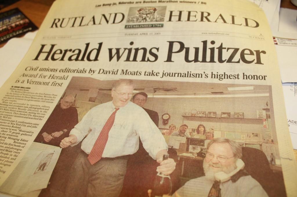 Rutland Herald Wins Pulitzer Paper